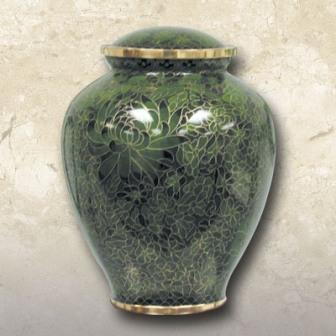 Garden Cloisonné Brass Urn