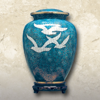 Going Home Cloisonné Brass Urn
