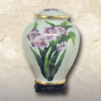 Iris Cloisonné Brass Urn